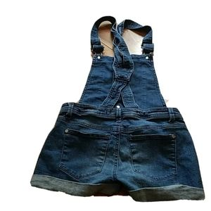 OVERALL JEAN SHORTS Size XS Women Denim Button